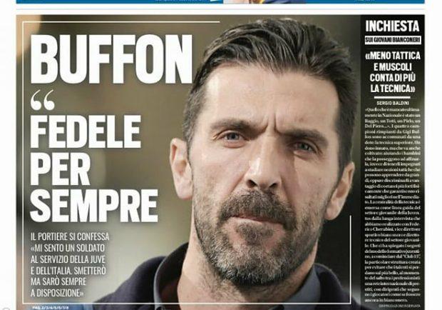 """FOTO – Tuttosport titola: """"Buffon: smetterò, ma sarò sempre a disposizione della Juve e dell'Italia"""""""