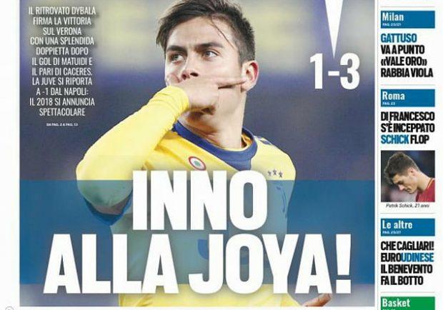 """FOTO – Tuttosport in prima pagina: """"La Juve si riporta a -1 dal Napoli"""""""