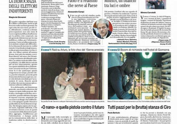 """FOTO: Il Mattino in prima pagina: """"L'anno dei record aspettando il vero scudetto"""""""