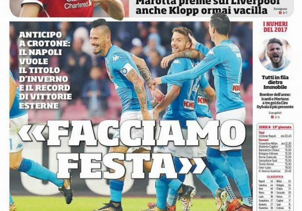 """FOTO – Prima pagina del CdS: """"Il Napoli vuole il titolo d'inverso e il record di vittorie in trasferta"""""""