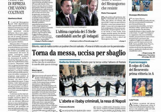 """FOTO – Il Mattino in prima pagina: """"Caro Anno Nuovo i tifosi hanno un solo desiderio"""""""