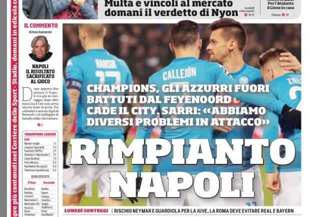 """FOTO – Il Corriere dello Sport: """"Rimpianto Napoli"""""""