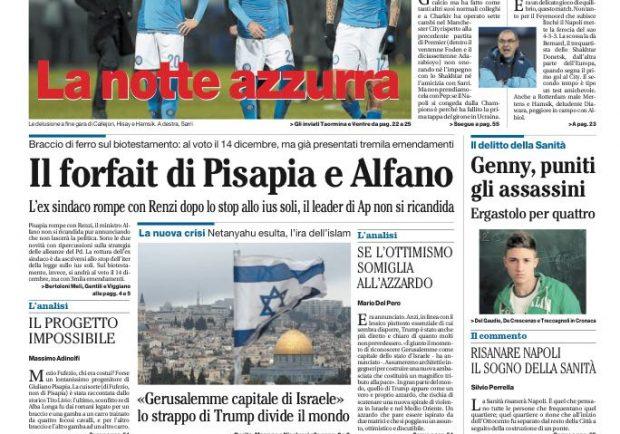 """FOTO – Il Mattino: """"Napoli, non è colpa di Guardiola"""""""