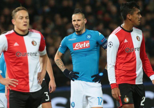 Feyenoord-Napoli 2-1, le pagelle: azzurri fuori dalla Champions, male Albiol ed Hamsik
