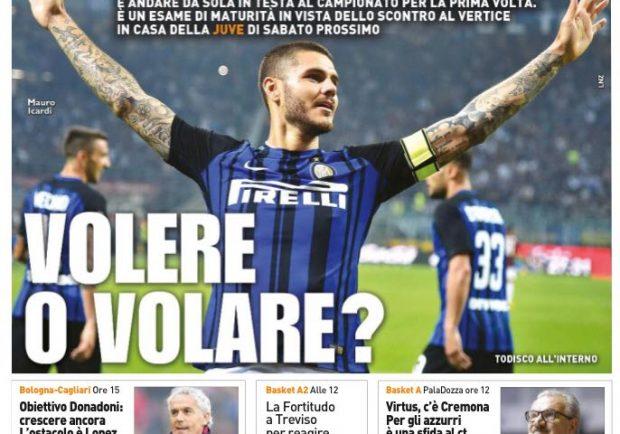 """FOTO – Qs in prima pagina: """"Inter, volere o volare?"""""""