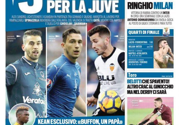 """FOTO – La prima di Tuttosport: """"Juve, è duello con il Napoli per Ghoulam e Darmian"""""""