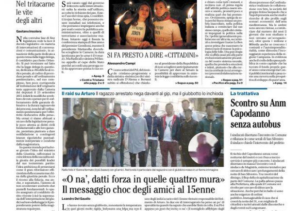 """FOTO – La prima pagina de """"Il Mattino"""": """"Napoli in mostra al Mann. Da Sivori a Maradona, quando il mito è azzurro"""""""