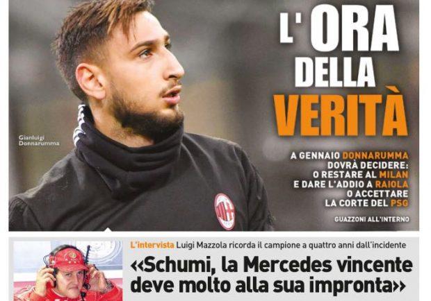 """FOTO – Qs in prima pagina: """"Milan-Donnarumma, è l'ora della verità!"""""""