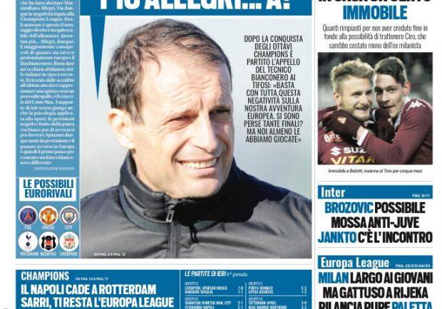 """FOTO – Tuttosport: """"Napoli, ora ti resta l'Europa League"""""""