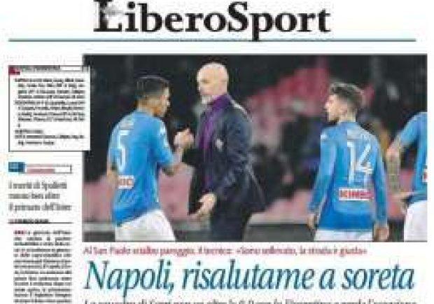 """FOTO – Libero ripropone il titolo provocatorio: """"Napoli, risalutame a soreta"""""""