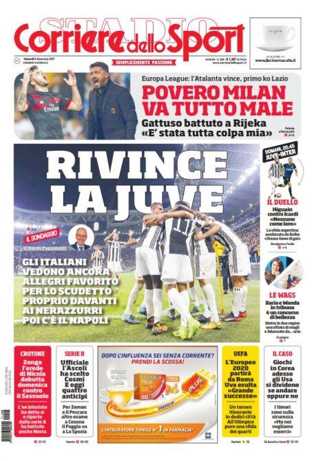 """FOTO – Prima pagina del CdS: """"Gli italiani vedono il Napoli terzo in classifica"""""""