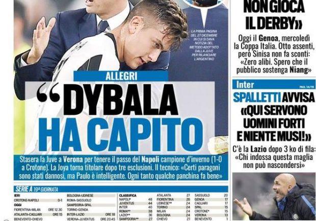 """Tuttosport – Dybala-Juve, pace fatta. Allegri: """"Paulo ha capito"""""""