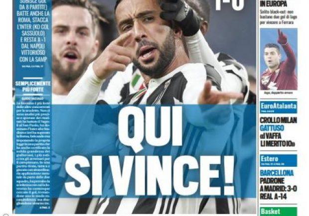 """FOTO – Tuttosport in prima pagina: """"Benatia e Szczesny due ex spietati"""""""