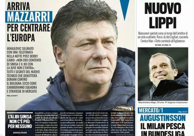 """FOTO – Tuttosport in prima pagina: """"Mihajlovic silurato con una telefonata"""""""
