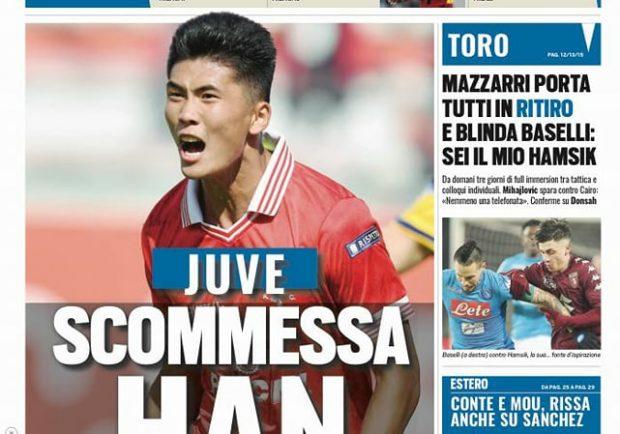 """FOTO – Tuttosport in prima pagina: """"Vicino l'accordo per il nordcoreano con il Cagliari"""""""