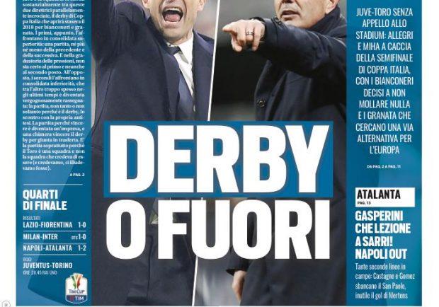 """FOTO – Tuttosport: """"Lezione di Gasperini a Sarri"""""""