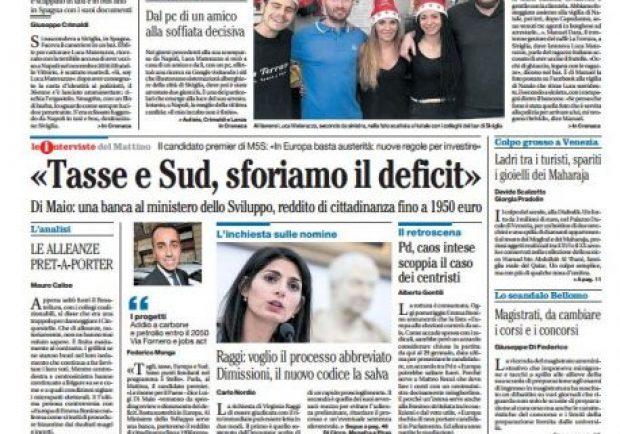 """FOTO – Il Mattino titola: """"Sarri a muso duro contro big e giovani: così non si va avanti"""""""