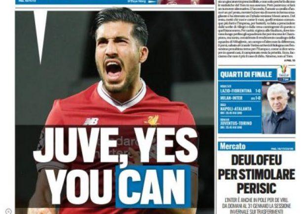 "FOTO – Tuttosport in prima pagina: ""Juve pronta a prendere Emre Can"""