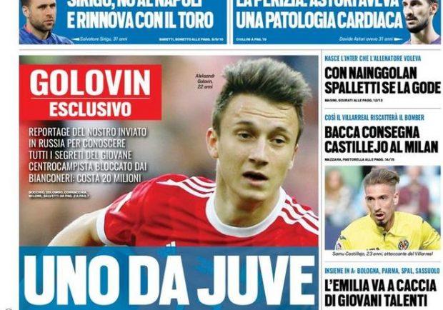 """FOTO – Tuttosport in prima pagina: """"Sirigu, no al Napoli e rinnova con il Toro"""""""