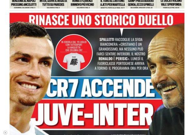 """FOTO – Tuttosport in prima pagina: """"Benzema al Napoli! Pressing di Ancelotti"""""""
