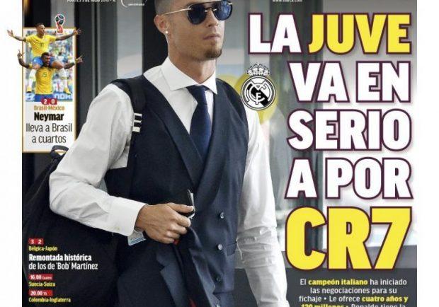 """FOTO – Marca apre: """"La Juve fa sul serio per Cr7! Avviati i contatti, affare da 120 mln"""""""