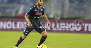 SSC Napoli's Algerian defender Faouzi Ghoulam  controls the ball during the Serie A  football match SS Lazio vs SSC Napoli