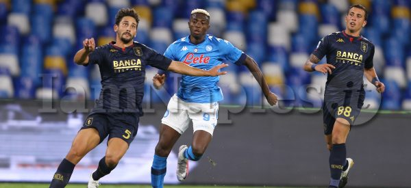 during the Serie A  football match  SSC Napoli vs  Genoa cfc at the San Paolo Stadium