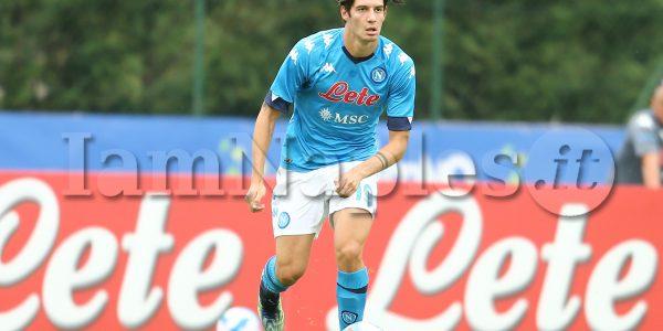 SSC Napoli's Italian midfielder Alessandro Zanoli during the pre-season friendly between ssc napoli vs Football Club Pro Vercelli 1892, on the tenth day of ssc napoli's pre-season training camp in Dimaro Folgarida