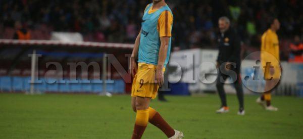 Napoli , Campania , ITALY: 2018-10-28, Italian Serie A football match SSC Napoli - AS Roma at the San Paolo stadium in photo Edin Dzeko