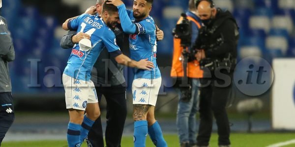 SSC Napoli's Belgium striker Dries Mertens celebrates after scoring a goal  during the Serie A football match between SSC Napoli and Benevento at the Diego Armando Maradona Stadium, Naples, Italy, on 03 February  2021