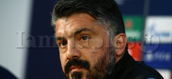 SSC Napoli's Italian coach Gennaro Gattuso   during the press conference the day before the match of the champions league SSC Napoli vs  FC Barcellona at the training center SSC Napoli Castelvolturno