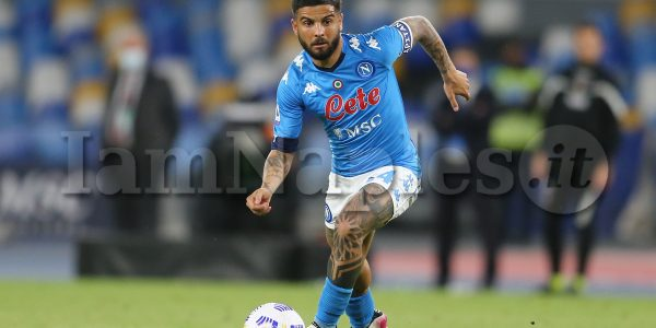 SSC Napoli's Italian striker Lorenzo Insigne  controls the ball during the Serie A football match between SSC Napoli and Udinese  at the Diego Armando Maradona Stadium, Naples, Italy, on 11 May  2021