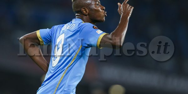 SSC Napoli's Nigerian striker Victor Osimhen celebrates after scoring a goal during europa league match SSC Napoli - Legia Warsaw, . Napoli won 3-0.