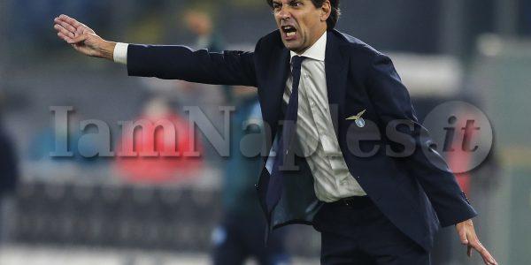 Lazio's Italian coach Simone Inzaghi gesticulate during the Serie A  football match SS Lazio vs SSC Napoli