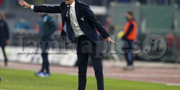 LazioÕs Italian coach Simone Inzaghi gesticulate during the Serie A  football match SS Lazio vs SSC Napoli