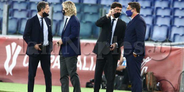 Finale coppa Italia napoli Juventus in foto dirigenza juve agnelli